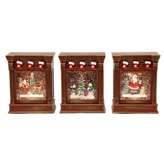 Fireplace Spinner Santa - Snowmen 3 Assorted 17cm