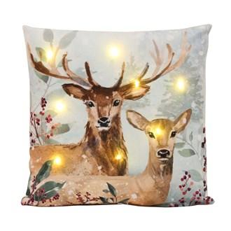 LED Reindeer and Doe Cushion 45cm x 45cm