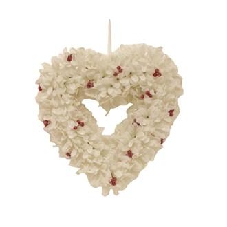Leaf & Berry Heart Wreath White 34cm