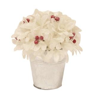 Leaf & Berry Arrangement in Pot White 18cm