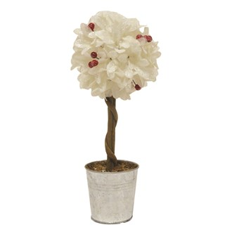 Leaf & Berry Topiary Tree in Pot White 36cm