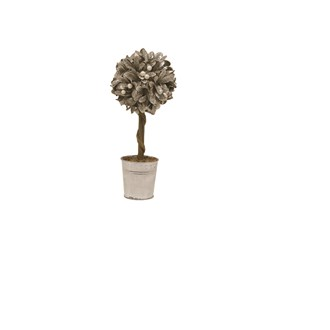 Leaf & Berry Topiary Tree in Pot Silver 32cm