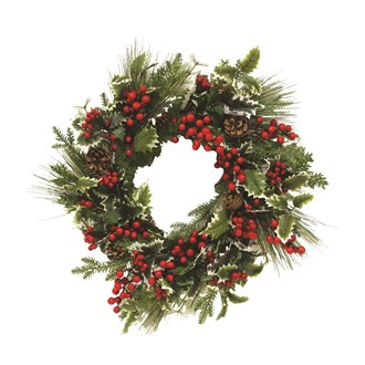Floral Wreath Green Foliage, Red Berries 62cm