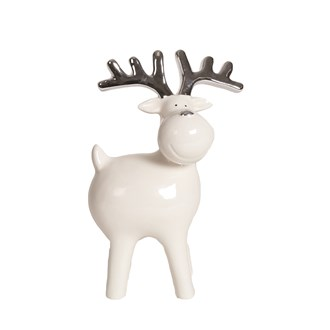 White and Silver Ceramic Reindeer 16cm