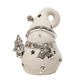 White and Silver Ceramic Snowman Tealight Holder 18cm