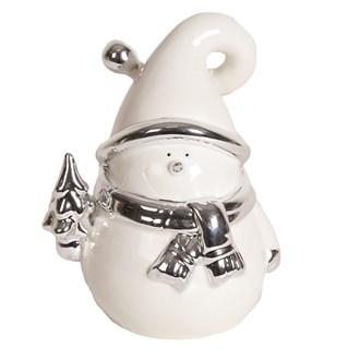 White and Silver Ceramic Snowman 14.5cm