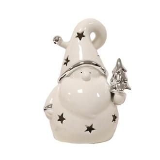 White and Silver Ceramic Santa Tealight Holder 18.5cm