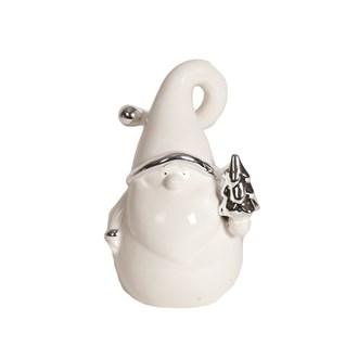 White and Silver Ceramic Santa 14.5cm