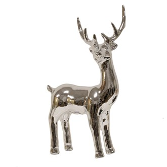 Ceramic Silver Reindeer 31.5cm