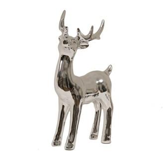 Ceramic Silver Reindeer 19cm