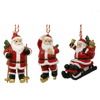 Santa Hanging Decorations 3 Assorted 8cm