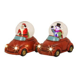 LED Santa Snowman in Car 2 Assorted (6.5cm Globe)