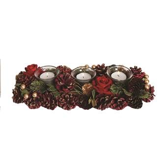 Red Festive Decoration 3 Tealight Holder 36cm