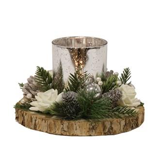 White Floral Tealight Holder 21cm