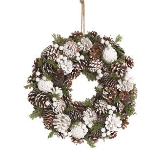 White Festive Deco Wreath 38cm