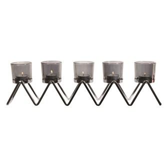 Chrome 5 Tealight Holder 47x13cm