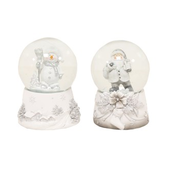 Musical Snow Globe 2 Assorted Silver Accents (10cm Globe)