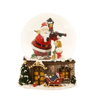 Musical Santa Snow Globe Red (15cm Globe)