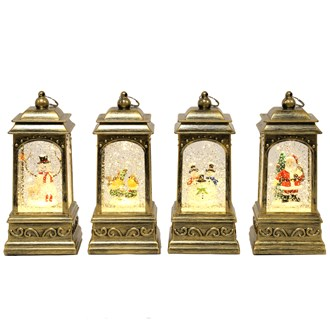 Brushed Gold Lantern Water Spinner 4 Assorted 20.5cm