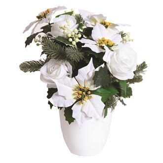 White Rose and Poinsettia in Pot 39cm