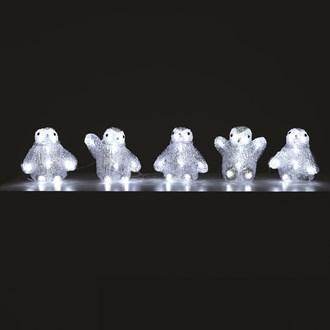 LED Set of 5 Acrylic Penguins 5m