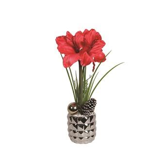 Amaryllis Deco Pot 53cm Red