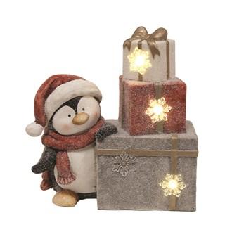 LED Penguin Present 33cm