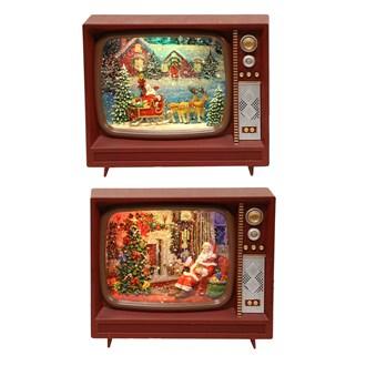 Retro Television Santa Spinner 2 Assorted 21cm
