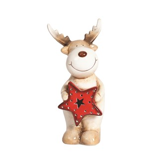 LED Reindeer with Red Star 18.5cm