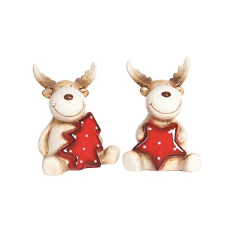 Reindeer Figurine 2 Assorted 8.5cm