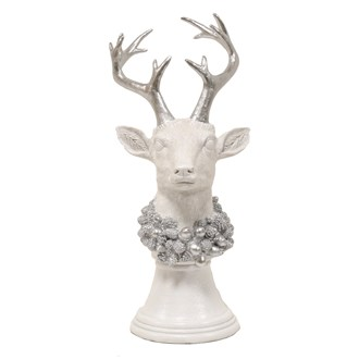 Stag Silver White Bust 51cm