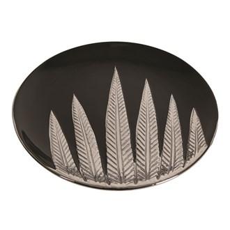 Black and Silver Ceramic Leaf Plate 30cm