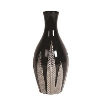 Black and Silver Ceramic Leaf Vase 29cm