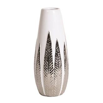 White and Silver Ceramic Leaf Vase 27.5cm