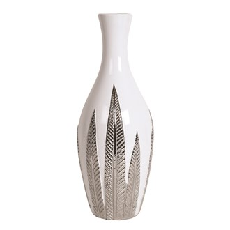 White and Silver Ceramic Leaf Vase 39cm