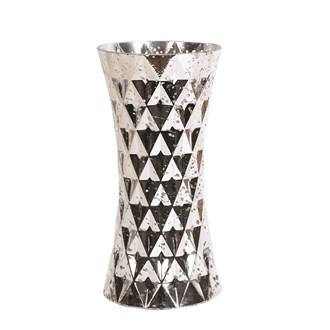 Silver Glass Geometric Triangle Vase 30cm