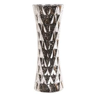 Silver Glass Geometric Triangle Vase 40cm