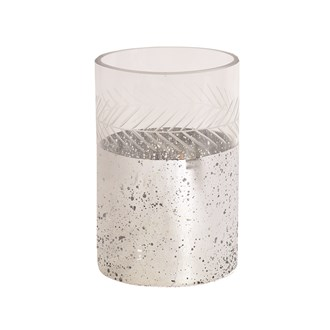 Etched Glass Candle Holder 15cm