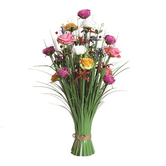 Grass Floral Bundle Pink, Yellow, and Purple Rose 70cm