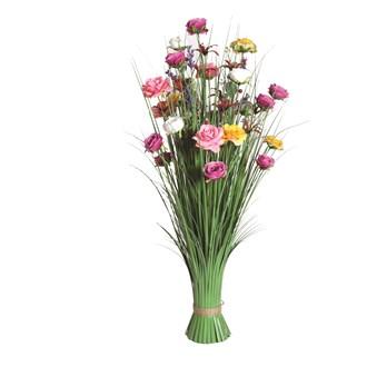Mixed Rose Floral Grass 100cm