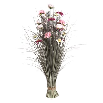 Grass Floral Bundle Pink and White Rose 100cm