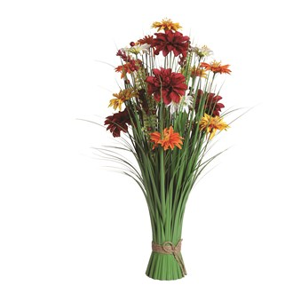 Grass Floral Bundle Red and Orange Mixed Flowers 70cm