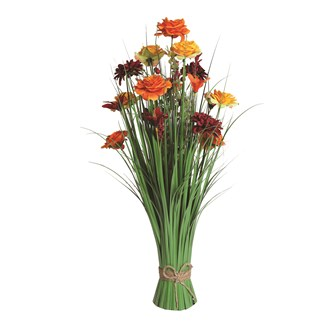 Grass Floral Bundle Red and Orange Rose and Lily 70cm
