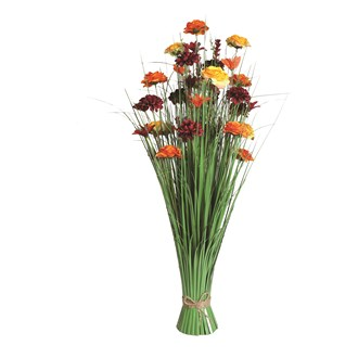 Grass Floral Bundle Red and Orange Rose and Lily 100cm
