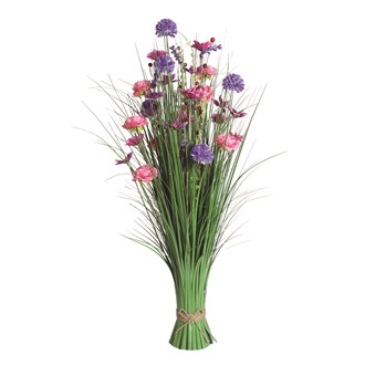 Grass Floral Bundle Pink and Purple Clematis 100cm