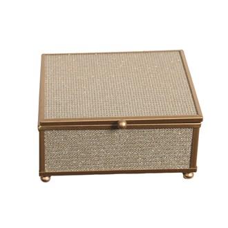 Gold Rim Jewellery Box 13x13cm