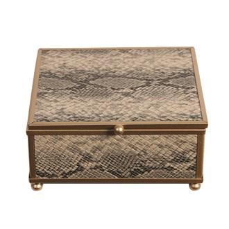 Gold Snake Skin Jewellery Box 13x13cm