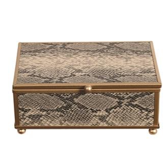 Gold Snake Skin Jewellery Box 15x10cm
