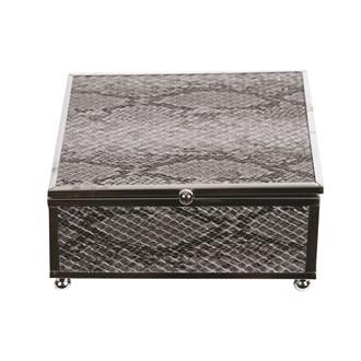 Silver Snake Skin Jewellery Box 13x13cm