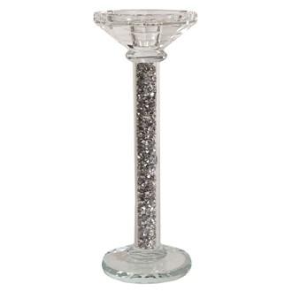 Crystal Pillar Candle Holder 28cm